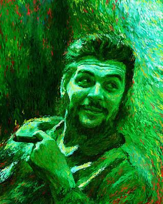 Che Guevara Green Poster by Shubnum Gill