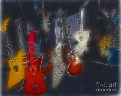 Cheap Trick Guitars Fractal Poster by Gary Gingrich Galleries