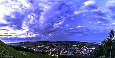 Checiny Town Blue Hour Panorama Poster by Julis Simo