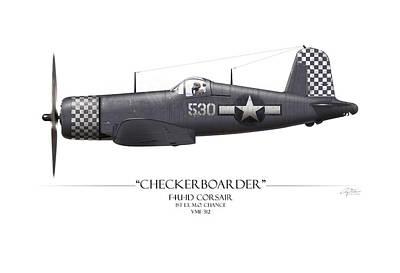 Checkerboarder F4u Corsair - White Background Poster by Craig Tinder