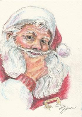Santa Checking Twice Christmas Image Poster