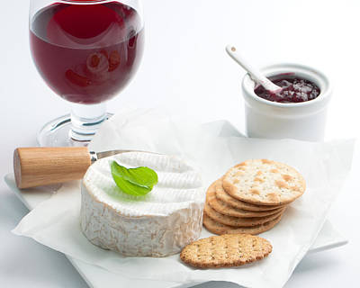 Cheese And Crackers With Wine Poster by Amanda Elwell