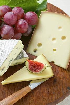 Cheese Board With Fig And Grapes Poster