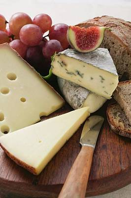 Cheese Board With Grapes, Fig And Bread Poster