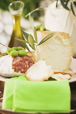 Cheese, Salami, Olives, Crackers, Olive Oil On Outdoor Table Poster