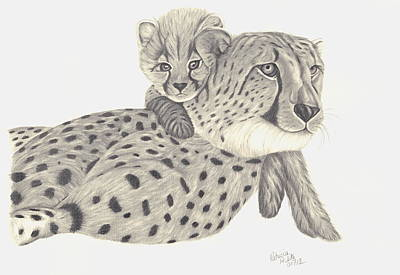 Poster featuring the drawing Cheetah And Her Cub 1 by Patricia Hiltz