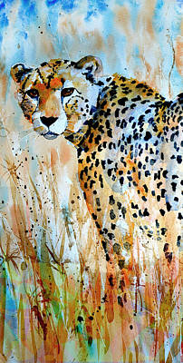 Poster featuring the painting Cheetah by Steven Ponsford