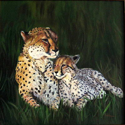Poster featuring the painting Cheetahs by LaVonne Hand