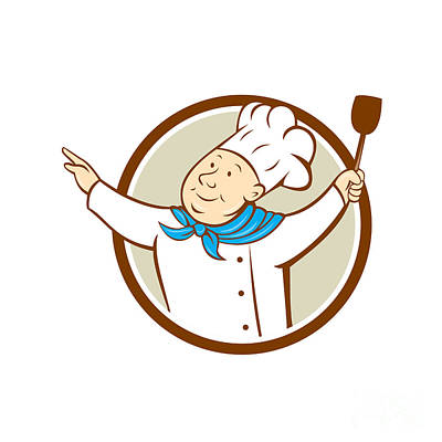 Chef Cook Arms Out Spatula Circle Cartoon  Poster by Aloysius Patrimonio