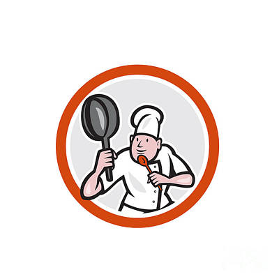 Chef Cook Holding Frying Pan Fighting Stance Cartoon Poster by Aloysius Patrimonio