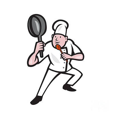 Chef Cook Holding Frying Pan Kung Fu Stance Cartoon Poster by Aloysius Patrimonio