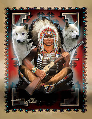 Cheif Sitting Wolf Poster