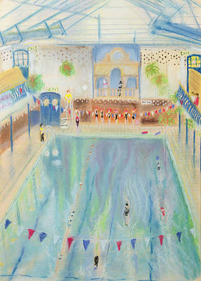 Chelsea Swimming Baths, 1997 Pastel On Paper Poster by Sophia Elliot