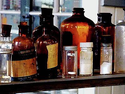 Chemistry - Brown Bottles Poster by Susan Savad