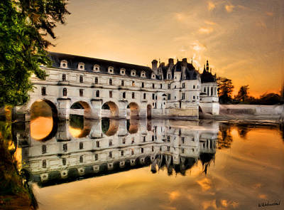 Chenonceau Castle In The Twilight Painting Poster