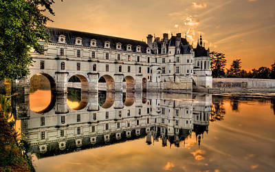 Chenonceau Castle In The Twilight Panorama Poster