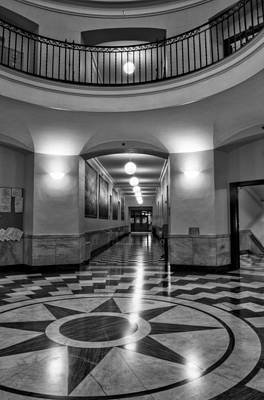 Cherokee County Courthouse Rotunda In Black And White Poster by Greg Mimbs