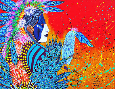 Poster featuring the painting Cherokee Dancer by Debbie Chamberlin