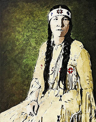 Poster featuring the digital art Cherokee Woman by Lianne Schneider