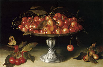 Cherries In A Silver Compote With Crabapples Poster