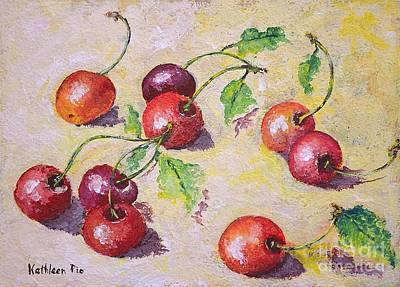 Cherries On The Ground Poster by Kathleen Pio