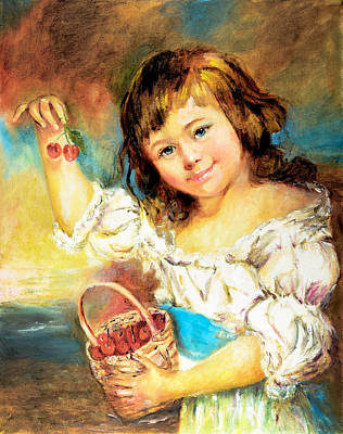 Poster featuring the painting Cherry Basket Girl by Sher Nasser