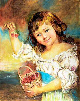 Cherry Basket Girl Poster