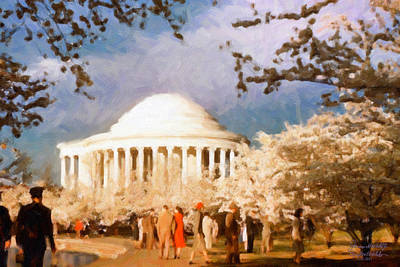 Poster featuring the painting Cherry Blossom Jefferson Memorial 1950s by Spyder Webb