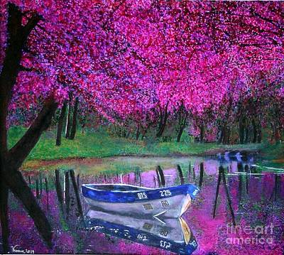 Poster featuring the painting Cherry Blossoms By The Lake by Marie-Line Vasseur