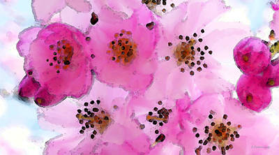 Cherry Blossoms - Flowers So Pink Poster by Sharon Cummings