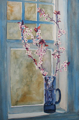 Cherry Blossoms In A Blue Pitcher Poster by Jenny Armitage