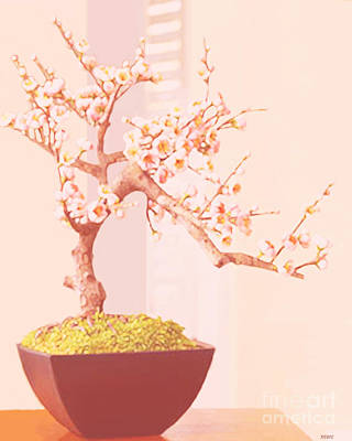 Cherry Bonsai Tree Poster by Marian Cates