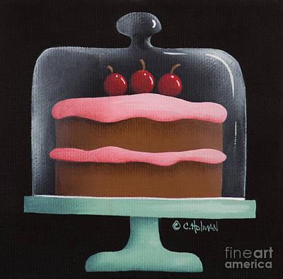 Cherry Chocolate Cake Poster by Catherine Holman