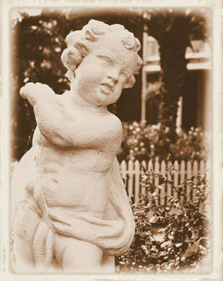 Poster featuring the photograph Cherub In The Garden by Nadalyn Larsen