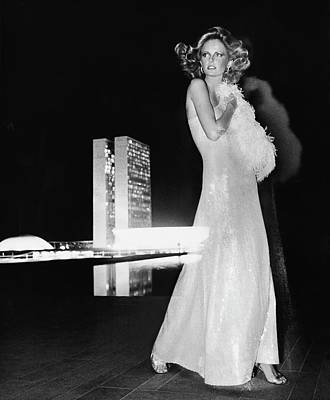 Cheryl Tiegs Wearing A Halston Evening Gown Poster