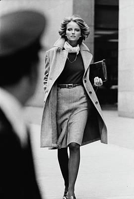 Cheryl Tiegs Wearing A Tweed Overcoat Poster