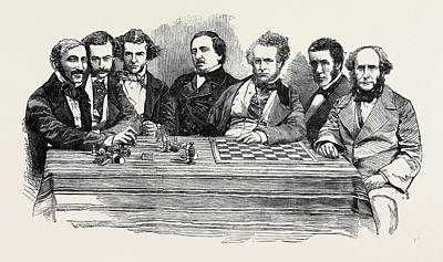 Chess Celebrities At The Late Chess Meeting Poster by English School