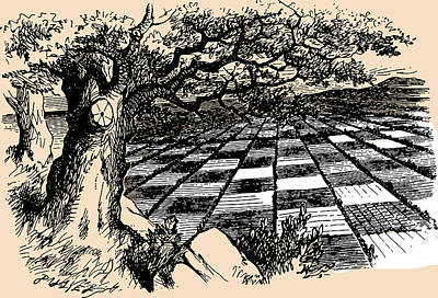Chessboard Through The Looking Glass Poster by John Tenniel