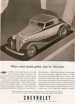 Chevrolet 1933 1930s Usa Cc Cars Poster by The Advertising Archives