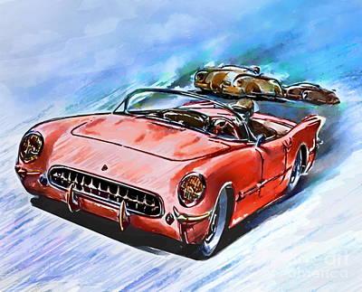 Chevrolet Corvette V8 1955  Poster by Andrzej Szczerski