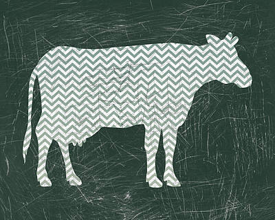 Chevron Cow In Green Poster