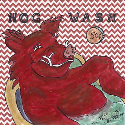 Chevron Hog Wash Poster by Cindy Watkins