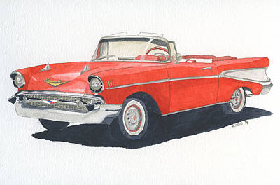 Poster featuring the painting Chevy Bel Air Convertible 57 by Eva Ason