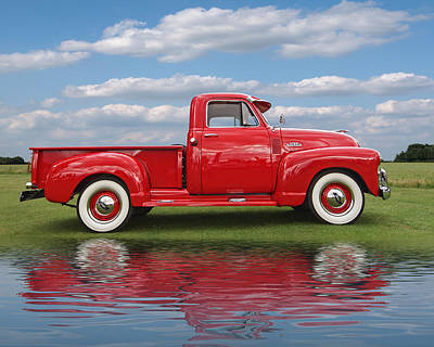 Chevy Truck By The Lake Poster by Gill Billington