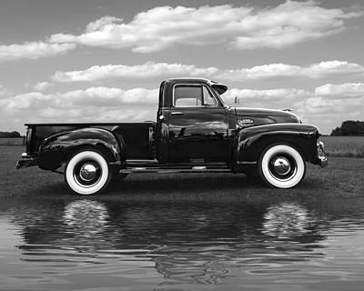 Chevy Truck By The Lake In Black And White Poster by Gill Billington