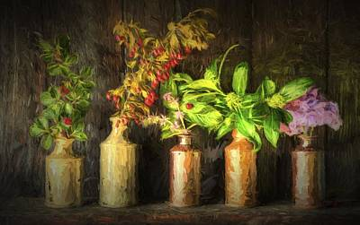 Chiaroscuro Style Image Retro Style Still Life Of Dried Flowers In Vase Against Worn Woo Poster