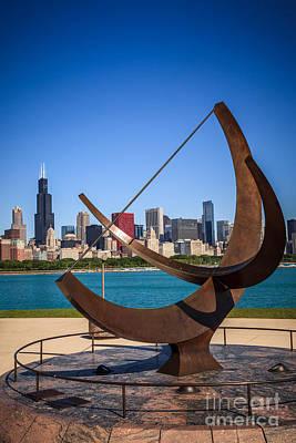 Chicago Adler Planetarium Sundial And Chicago Skyline Poster by Paul Velgos