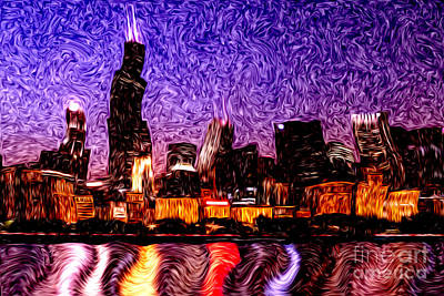 Chicago At Night Digital Art Poster