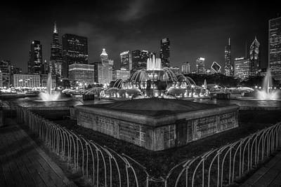 Chicago At Night Poster by Mike Burgquist