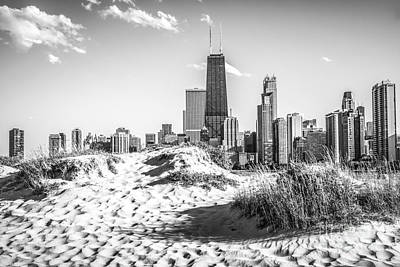 Chicago Beach And Skyline Black And White Photo Poster